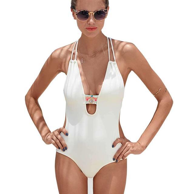 c9184be1b867b 2018 Women s White Black Sexy Backless One Piece Swimsuit Swimwear Deep V  Push Up Bandage Monokini High Waist Bodysuit Plus Size