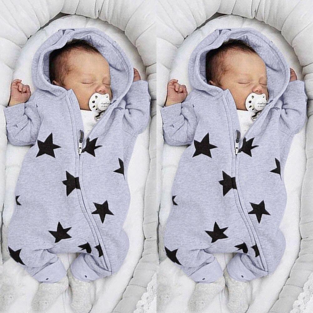 Newborn Infant Baby Girls Boys Stars Print Hooded Zipper Romper Jumpsuit Outfits Spring Brand New Fashion Newborn Jumpsuits