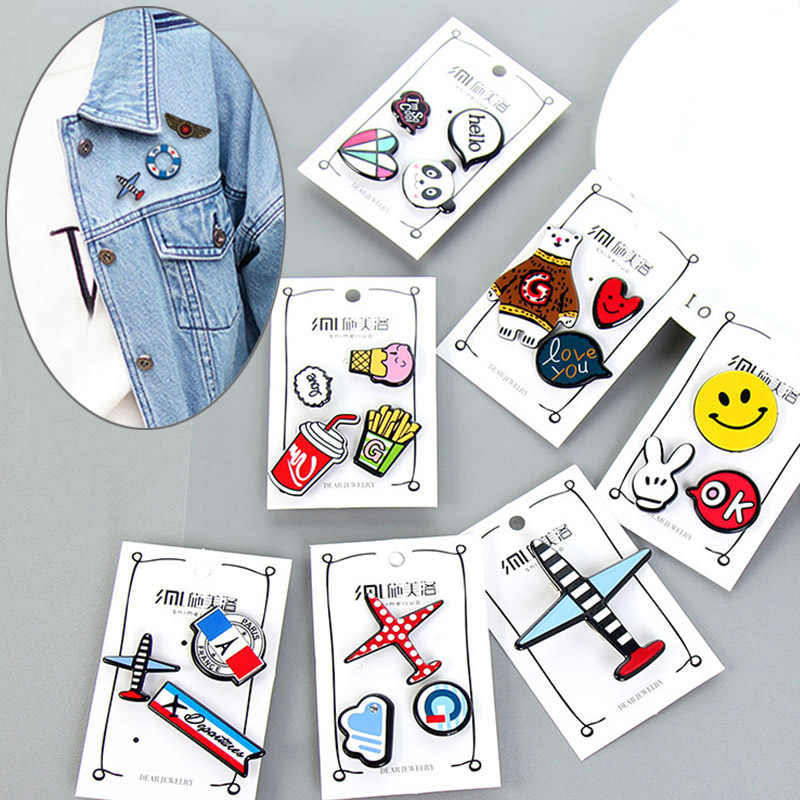 Fashion Creative Cartoon Bear Panda Heart Music Note Smile Airplane Brooch Button Jewelry Gift Denim Coat Badge Pin Pins