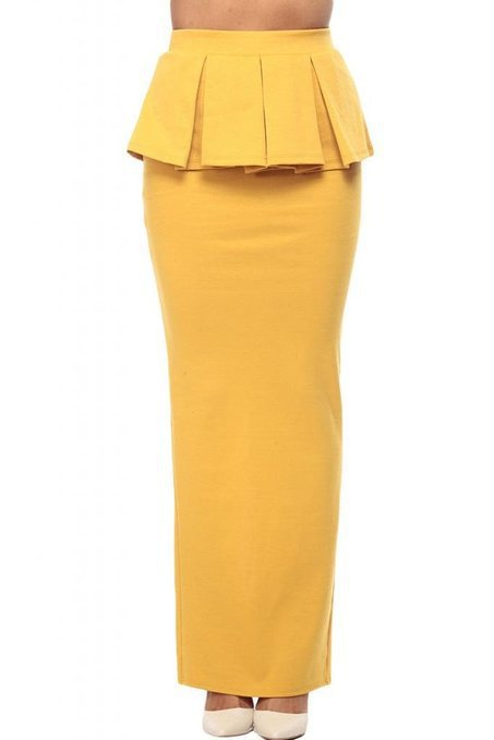 8f6f9d4c13d87 Women Solid Ruffles Mustard Peplum Maxi Skirt with Slit Woman Ladies Plus  Size 3XS 8XL Long Frill Back Split Pencil Skirts-in Skirts from Women s  Clothing ...