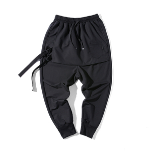 Image 5 - New Western Diablo Style Fashion Individuality Side Ribbon Mens Jogger Trousers Hip Hop Autumn Casual Street Male Harem Pants