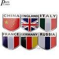 Etiqueta Engomada del coche De Aluminio de Aleación de China Inglaterra Italia Francia Alemania Rusia bandera Insignia Escudo Emblema Decal Placa Para BMW Audi Jeep KIA