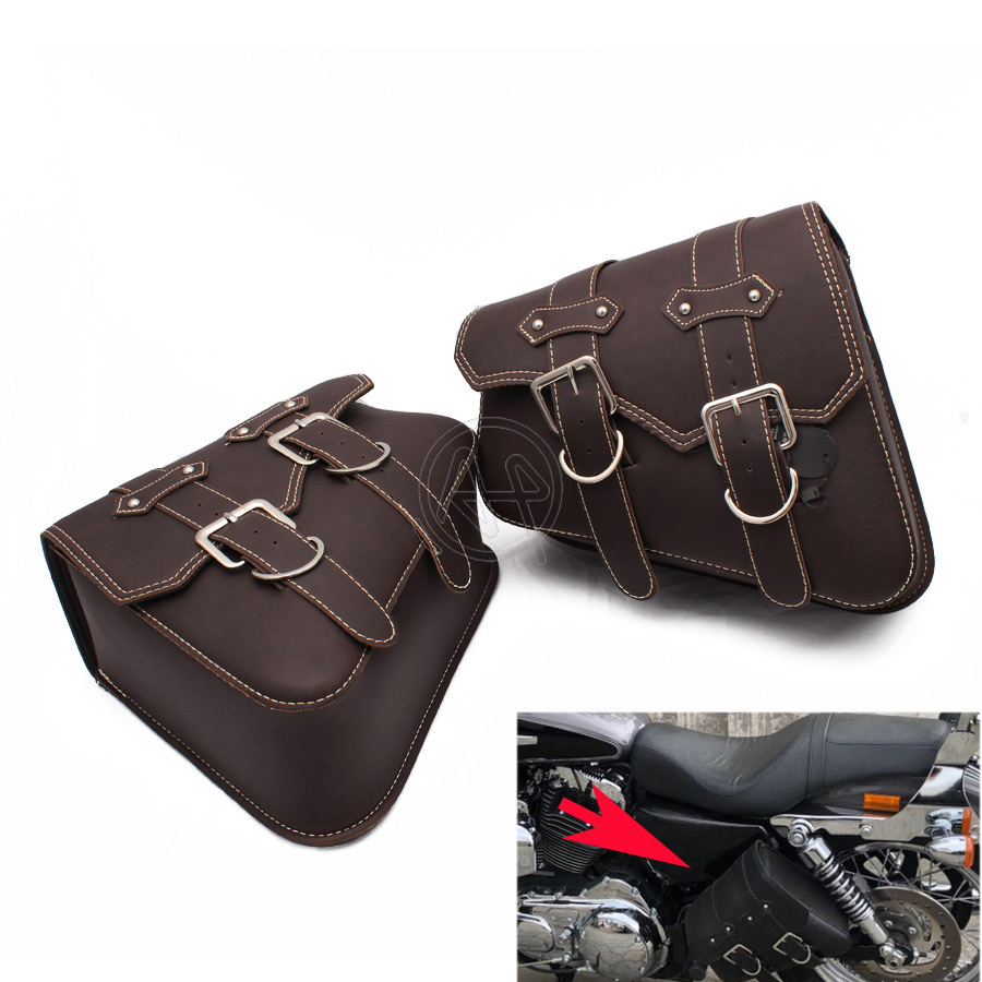 1Pair Universal Motorcycle Bag Leather Left Right Side Saddle Bags Storage Tool Pouches Luggage Bag For Harley Honda
