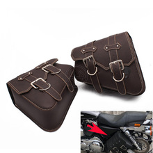 1pair Universal Motorcycle Bag Leather Left Right Side Saddle Bags Storage Tool Pouches Luggage For Harley Honda