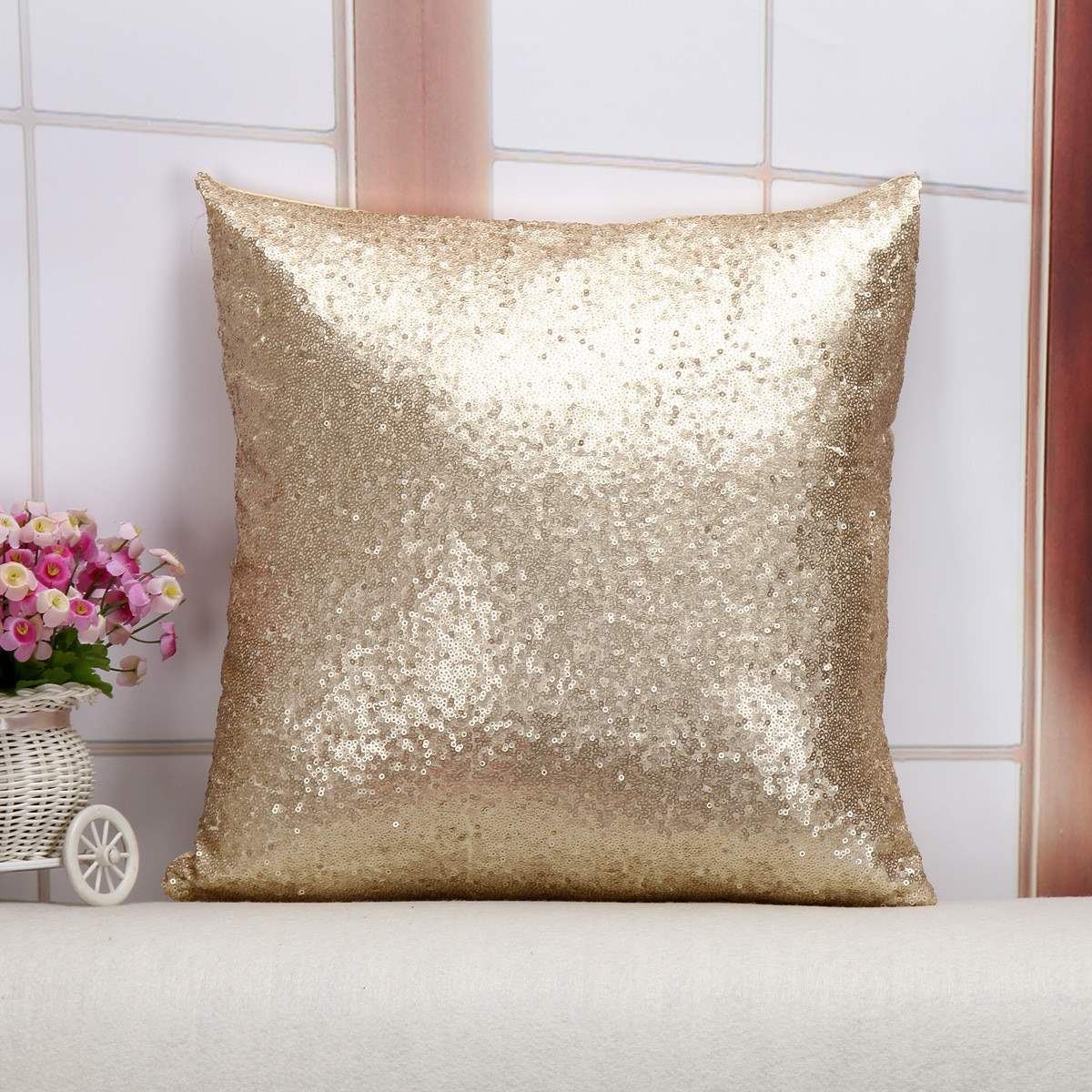 pillow case glitter sequins solid color throw cafe home cushion for office home bedding covers. Black Bedroom Furniture Sets. Home Design Ideas