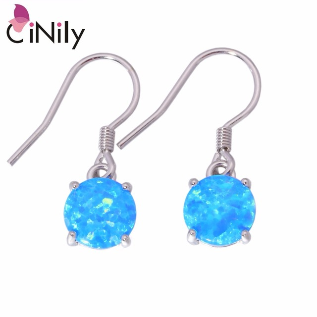 50187cb1c53d8 US $7.83 45% OFF|CiNily Created Blue White Fire Opal Authentic .925  Sterling Silver Wholesale for Women Jewelry Drop Earrings 7/8