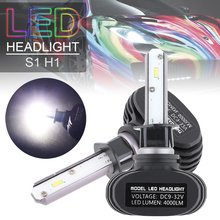 2pcs DC 9-32V LED Auto Car Headlight Kit H1 S1 50W 8000LM 6000K CSP Automobile Fog Lamp Hi or Lo Light Bulbs for Cars Vehicles