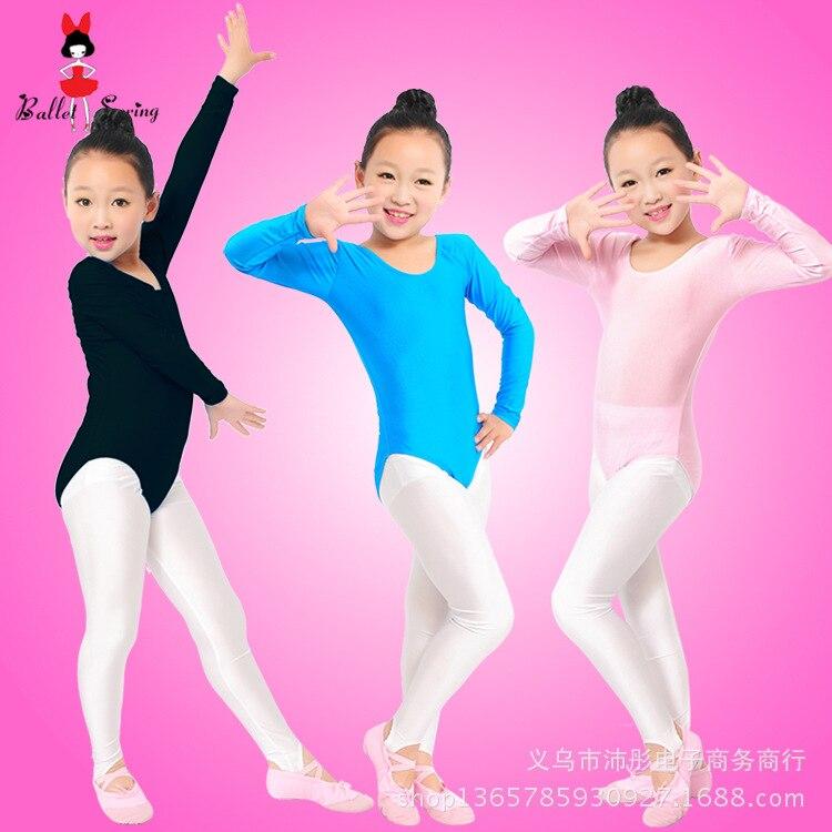 Manga longa ginástica collant para meninas azul rosa elastano crianças dança ballet roupas dancewear