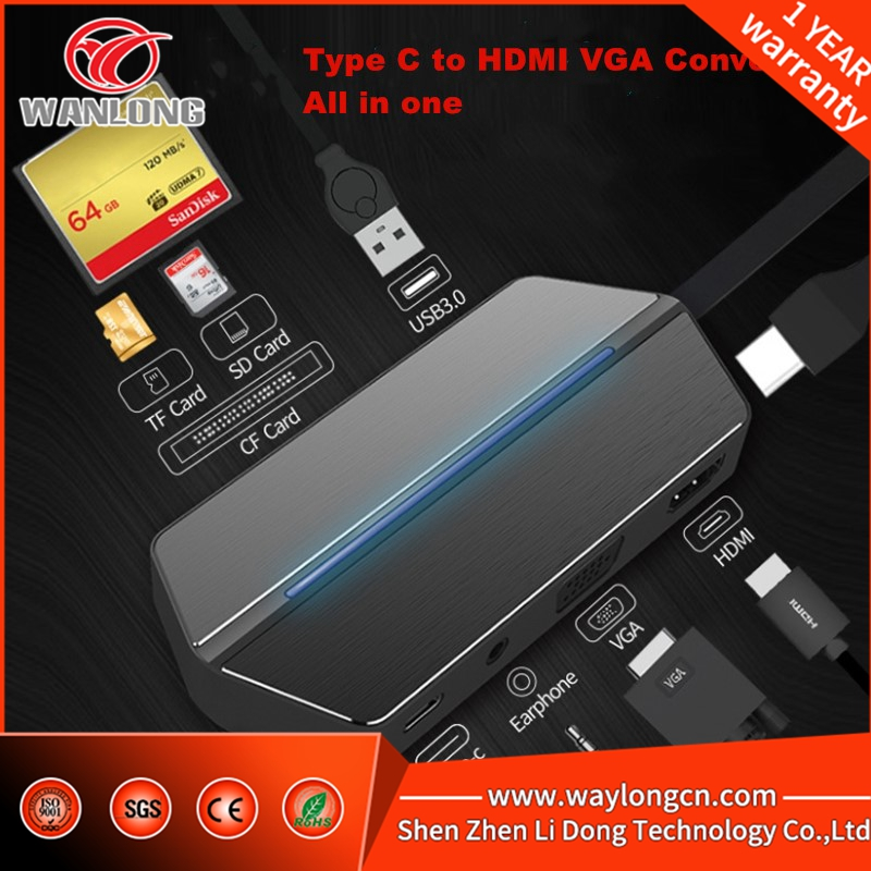 8 in 1 USB C to HDMI VGA SD TF card reader USB-C Multifunction Type C Hub PD Video for macbook shipping free ssk scrm 060 multi in one usb 2 0 card reader for sd ms micro sd tf white