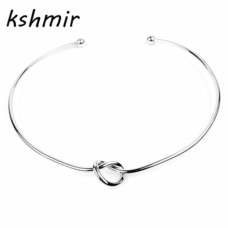 Mode smycken av persika hjärta knut Koppar halsband elegant flicka guld eller krage Kvinnors mode halsband