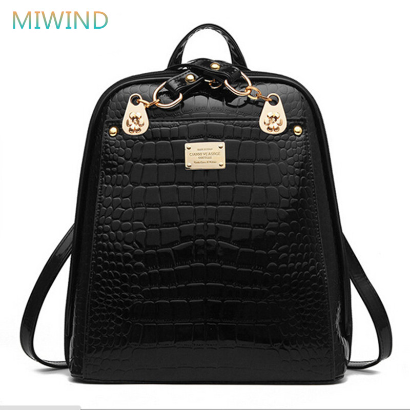 MIWIND Women Travel Bag 2016 Backpack Female Patent Pu Leather School Bags For Girls Fashion Backpack Mochilas PU76 miwind famous brand preppy style leather school backpack bag for college simple design travel leather backpack bags tlj1082