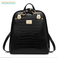 MIWIND Women Travel Bag 2016 Backpack Female Patent Pu Leather School Bags For Girls Fashion Backpack Mochilas PU76