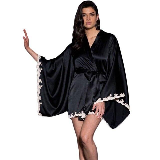 Negro seda satén kimono robe pijamas vestido babydoll lencería sexy 2017  Más vendido estilo europeo ropa a93c46b8943c