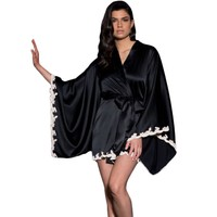 Black Silk Pyjamas Satin Robe Kimono Sleepwear Dress Babydoll Lingerie Sexy 2017 Best Sellers European Style