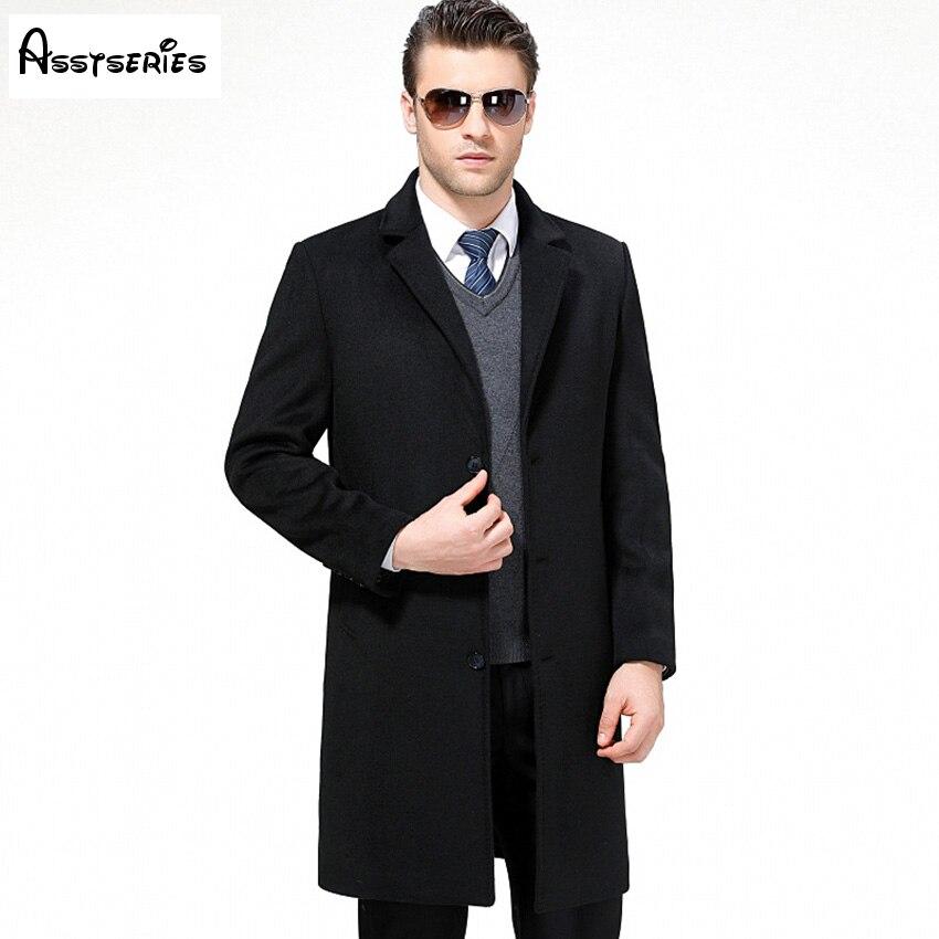 Бесплатная доставка 2018 Новый Для мужчин Шерсть шерстяные пальто Мода Для мужчин пиджаки Длинные Бизнес Пальто для будущих мам Slim Fit Шерстян...