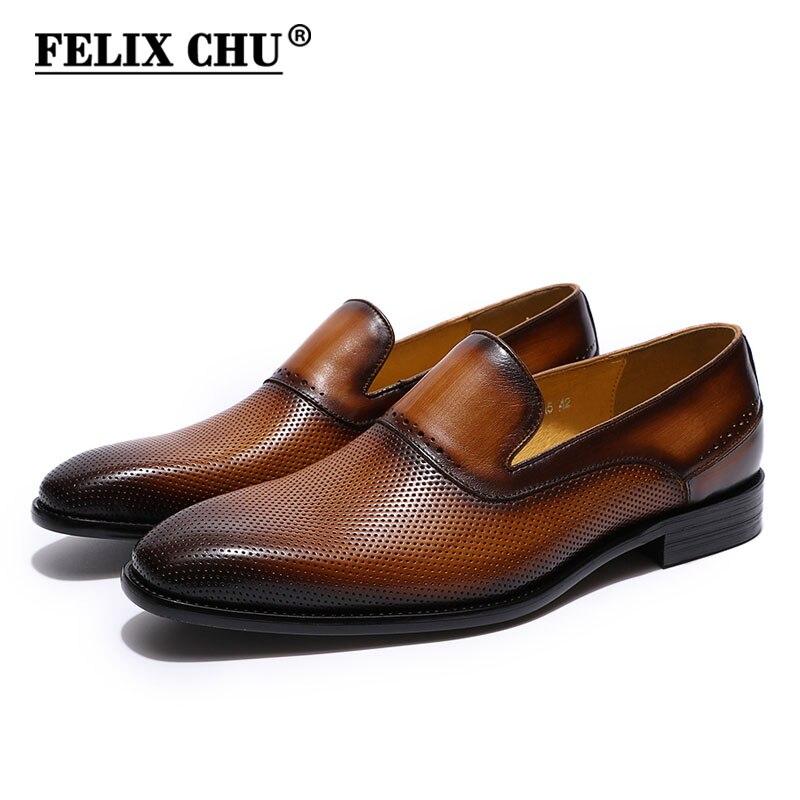 Felix CHU для мужчин дышащие Лоферы пояса из натуральной кожи коричневый, черный слипоны комфортные классические туфли S повседневное Свадебна...