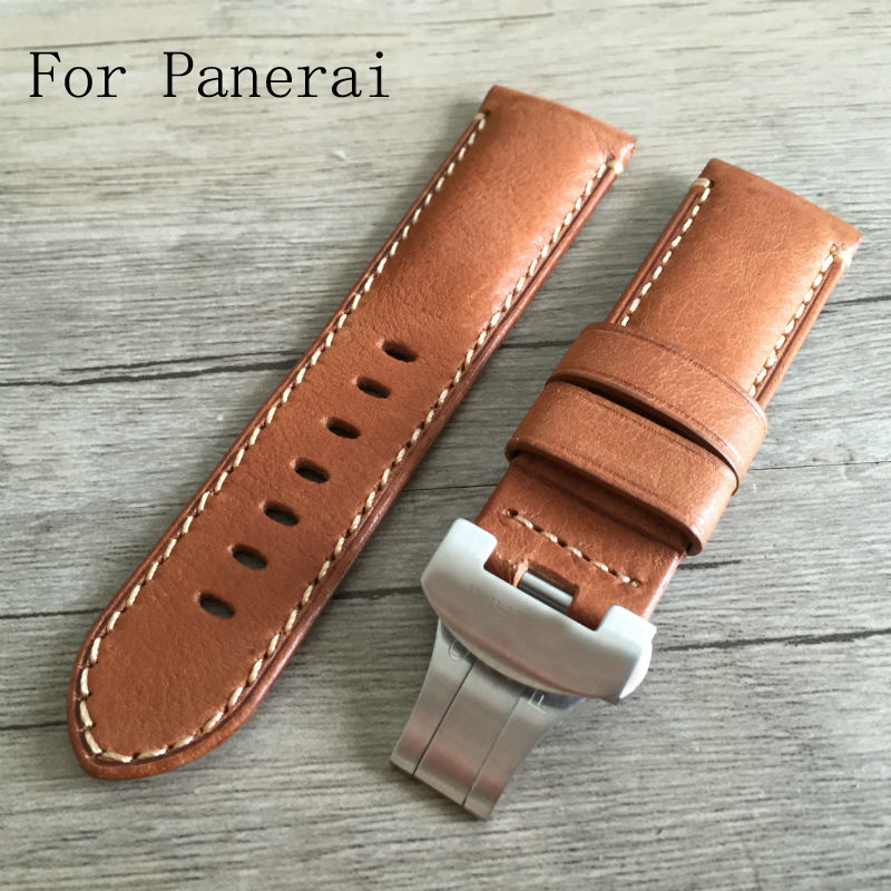 24mm Vintage Brown Italy Calf Leather Brown Watchband Strap With Silver Black Butterfly Buckle Clasp For