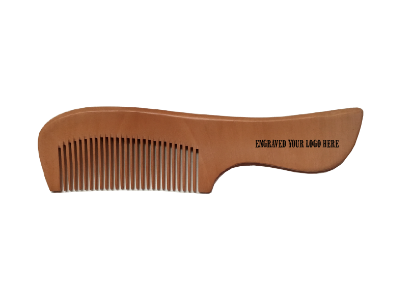 Custom Logo Peach Anti-static Toothed Hair Wooden Comb 19cm Length