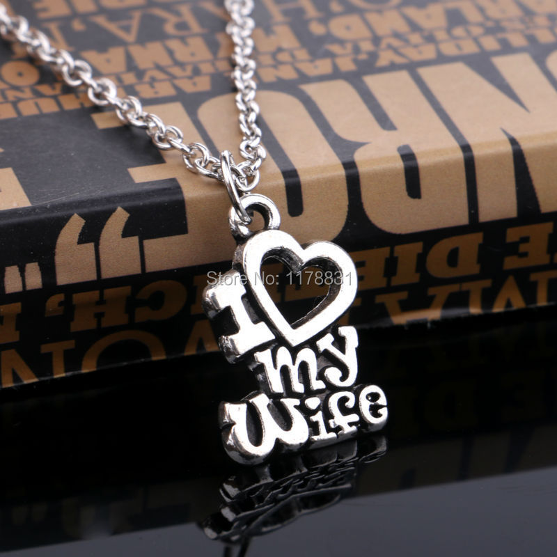 Good Great Gifts For My Wife Part - 3: Christmas Gift I Love My Wife Words Heart Retro Silver Charm Pendant  Necklace Best Jewelry Gifts