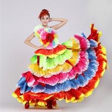 Испанские цветы танцевальный костюм Фламенко танцевальное платье большие качели представление Платье женское открытие сцена цветок лепесток юбка