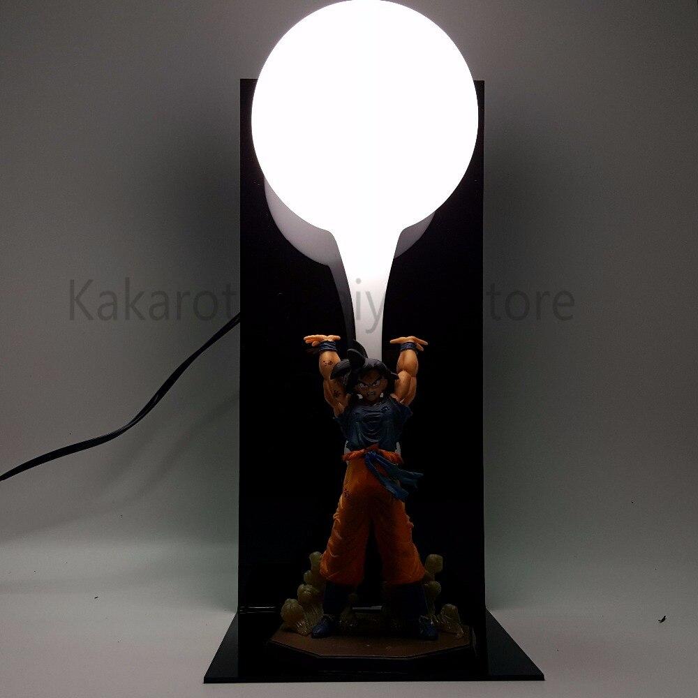 Dragon Ball Z Action Figure Son Goku Super Saiyan Genki damaSpirit Bomb Anime Dragon Ball Collectible Model Toy DBZ +Bulb+Base 1