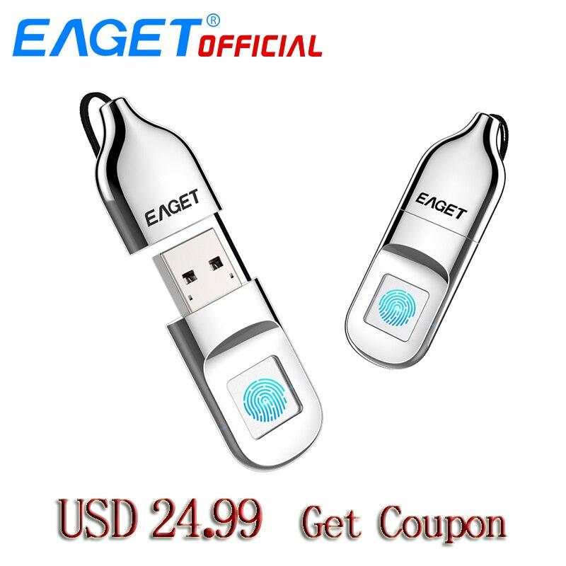 EAGET USB Flash Drive 64 gb Stylo Lecteur D'empreintes Digitales Cryptage Pendrive 32 gb USB Flash Disque Mémoire Bâton De Stockage Pour ordinateur portable PC