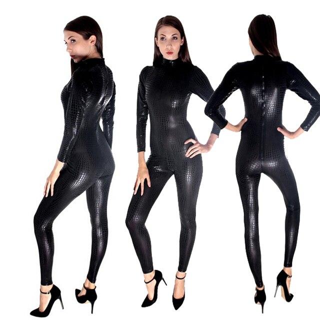 plus size good quality faux leather catsuit lingerie black,gold