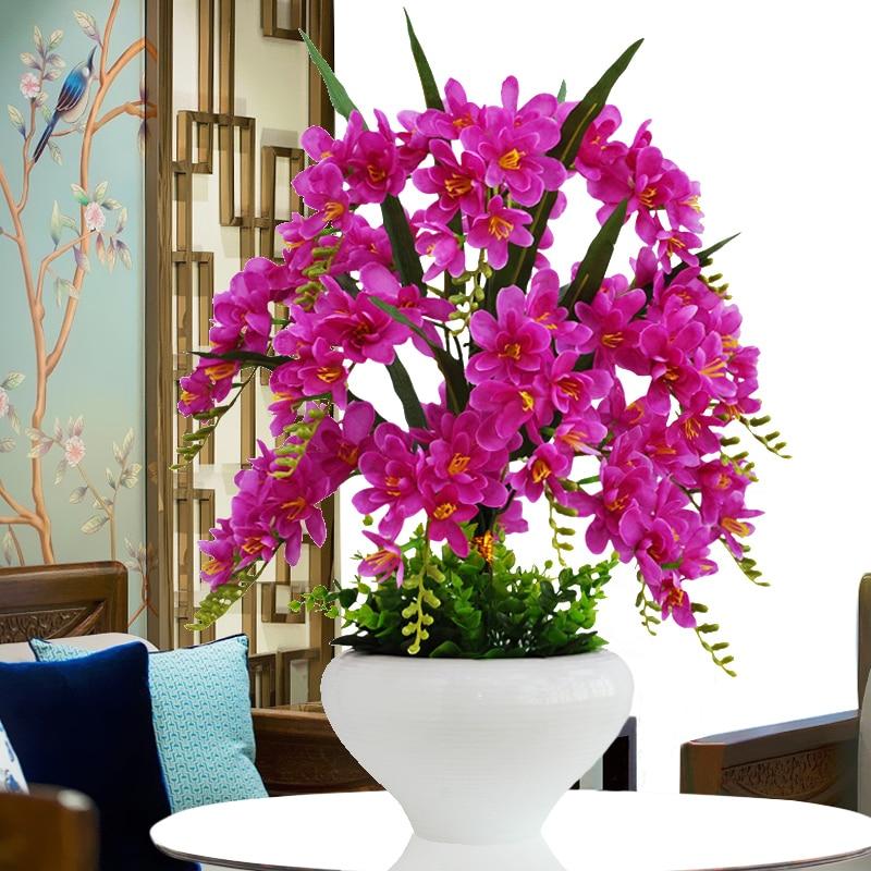 Набор искусственных цветов фаленопсис, искусственные цветы, пластиковые украшения для дома и гостиной, домашний бонсай, фермерский декор, Р...