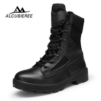 2018 ALCUBIEREE Winter Military Boots Men High Quality Men's Desert Tactical Combat Boots Army Work Shoes Leather Snow Boots Men