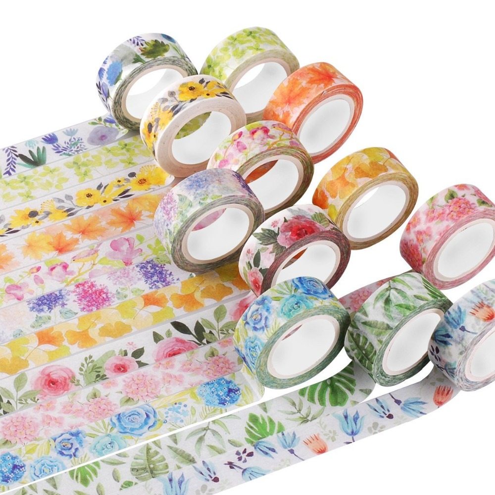 Cute Kawaii Plants Flowers Japanese Masking Washi Tape Decorative Adhesive Tape Decora Diy Scrapbooking Sticker Label Stationery aagu 1pc 8mm 7m label stationery red black dot stripe washi tape decorative masking tape lovely high viscosity paper sticker