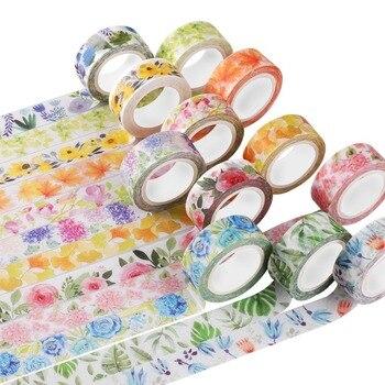 Cute Kawaii Plants Flowers Japanese Masking Washi Tape Decorative Adhesive Tape Decora Diy Scrapbooking Sticker Label Stationery Office Adhesive Tape