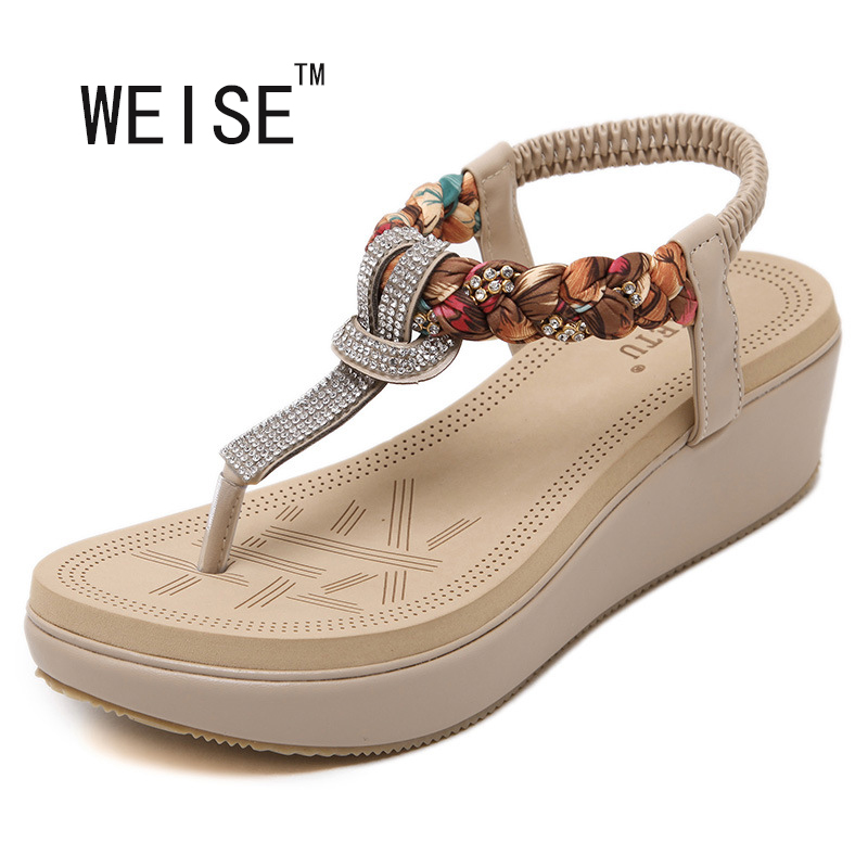 WEISE 2016 New National Summer Sandals Women'S Bohemia Diamond Slope With Large Size Women's