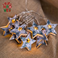 Wooden lamp string five pointed star lamp string room bedroom atmosphere Christmas ornament lighting