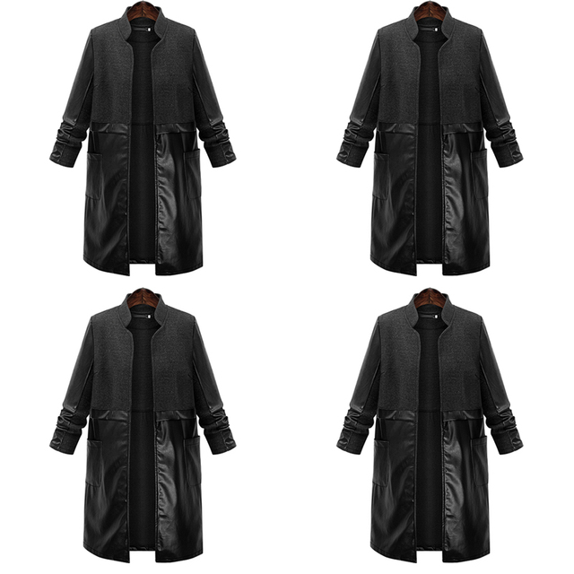 PlusSize Trench Women Basic Coats Womens Long Bomber Winter Coat PU Fashion High Quality Patchwork Black Leather Overcoat 2016