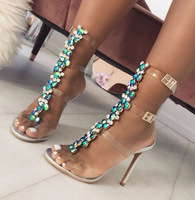 2019 PVC Design Rhinestone Transparent Stiletto Sandals Shoes Crystal T Strap Lady High Heels Shoes Sexy Female Party Shoes