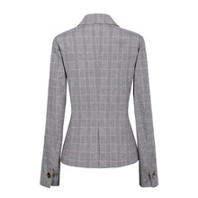Elegant Grey Plaid Blazer