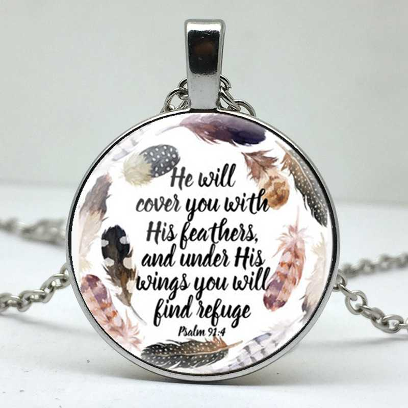 He will cover your feathers and his wings, and you will find refuge poems for men and women wearing pendant necklace jewelry.