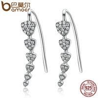 BAMOER 100 Genuine 925 Sterling Silver Triangle Heart Long Drop Earrings With Clear CZ Sterling Silver