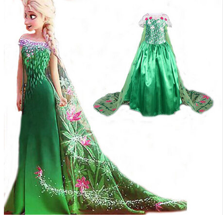 Fever Elsa Dresses Girl Cosplay Costume Snow Queen Princess Girl Dress Kids Party Clothing Fantasia Infantis Vestido Menina 3-9Y