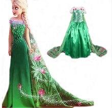 Fever Elsa Dresses Girl Cosplay Costume Snow Queen Princess Girl Dress Kids Party Clothing Fantasia Infantis