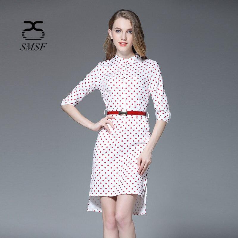 SMSF 2 Color Autumn Cotton Fashion Point Dress Half Sleeve Dress Vintage Slim Casual Dresses Female the Black Friday Vestidos