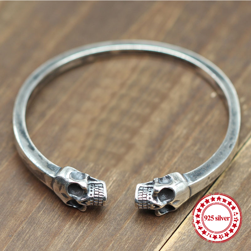 S925 sterling silver mens bracelet personalized classic vintage ornaments domineering skull modeling send lovers gift BanglesS925 sterling silver mens bracelet personalized classic vintage ornaments domineering skull modeling send lovers gift Bangles