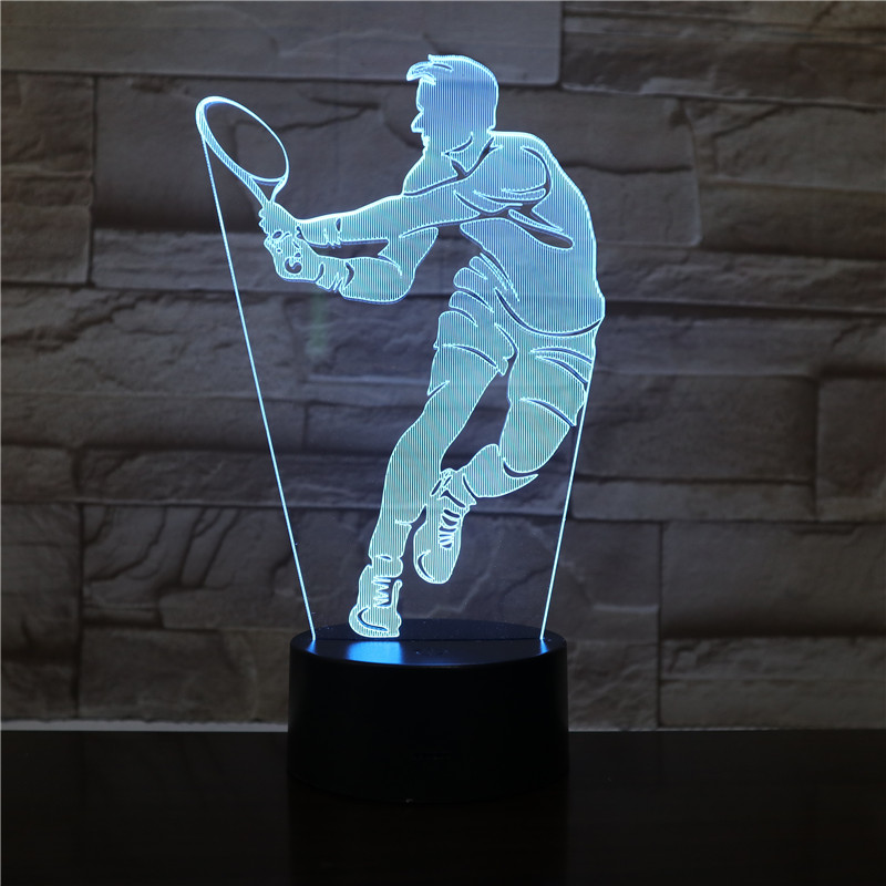 Table Desk Lamp 3d Tennis Player Figure 3d Led Night Light Home Office Room Decorative Nightlight For Kids Child Birthday Gift