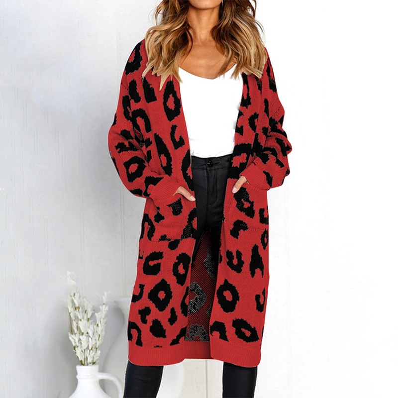 837bbe3838a 2018 Winter Leopard Print Women Loose Cardigan Sweater Outerwear ...
