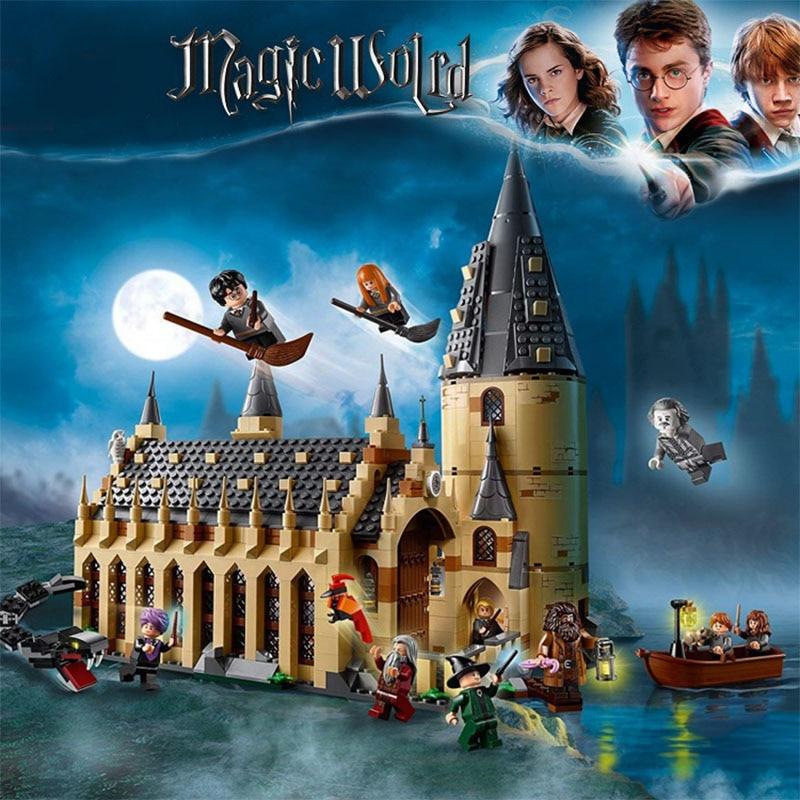 2019 Legoinglys Film di Harry Potter Hogwarts 75954 75952 75953 Grande Sala Castello Blocchi di Costruzione di Modello 11007 Giocattoli Educativi