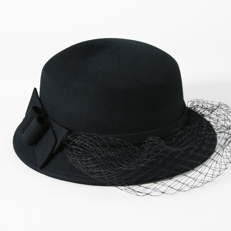 2018 Woman Autumn And Winter Formal Hat England Lady Wide Brim Bowknot  Woolen Bucket Hat Women 8a64e2bdabd