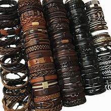 ZotatBele Random 50pcs Wholesale Bulk Lots 50PCS/Pack Mix Styles Leather Cuff Bracelets Mens Womens Jewelry Party Gifts MX9
