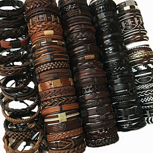 Image 1 - ZotatBele Random 50pcs Wholesale Bulk Lots 50PCS/Pack Mix Styles Leather Cuff Bracelets Mens Womens Jewelry Party Gifts MX9