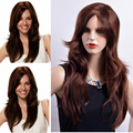 Long Fashion Wigs Dark Brown Hair Synthetic Wigs For Women Long brown curly wig layerd hair  Drag Queen Hair Brown long wavy wig