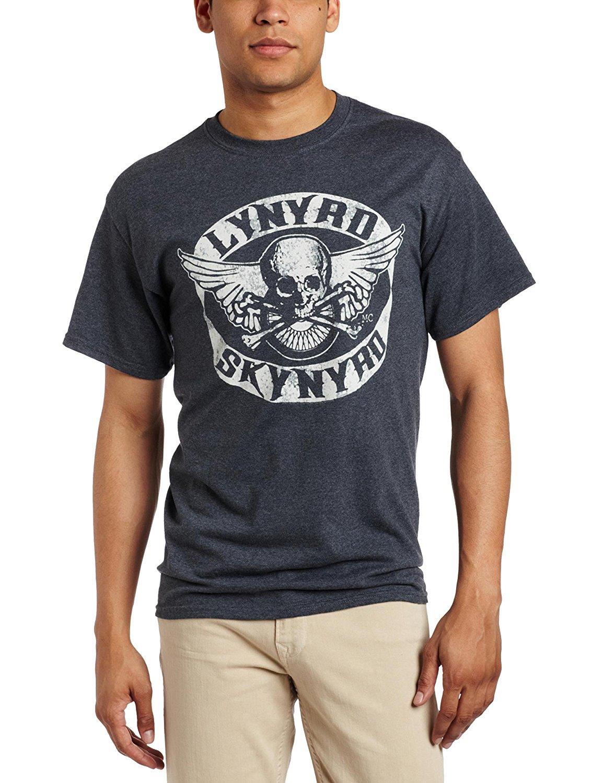 FEA Merchandising Mens Lynyrd Skynyrd Biker Patch T-Shirt, Dark Heather, X-Large